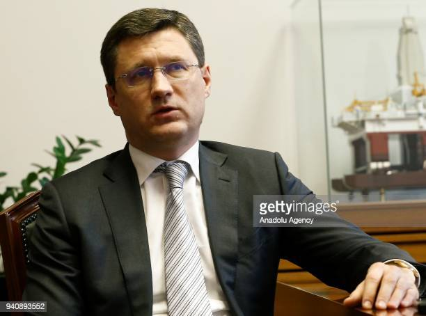 Russia's Energy Minister Alexander Novak speaks during an exclusive interview in Moscow Russia on April 02 2018