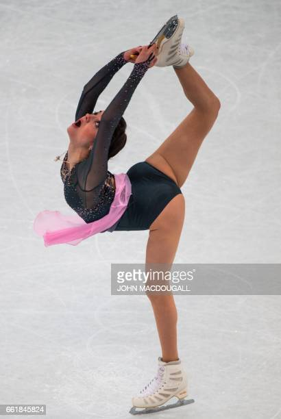 Russia's Evgenia Medvedeva competes at the woman's Free Skating event at the ISU World Figure Skating Championships in Helsinki Finland on March 31...