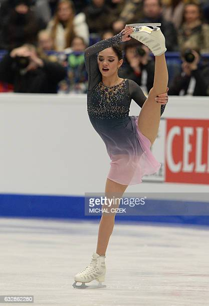 Russia's Evgenia Medvedeva competes during the ladies free skating competition of the European Figure Skating Championship in Ostrava Czech Republic...
