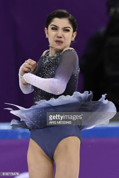 Russia's Evgenia Medvedeva competes in the figure skating team event women's single skating short program during the Pyeongchang 2018 Winter Olympic...