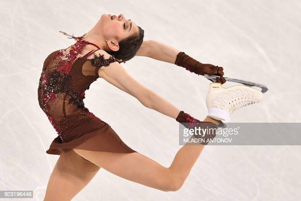 TOPSHOT Russia's Evgenia Medvedeva competes in the women's single skating free skating of the figure skating event during the Pyeongchang 2018 Winter...