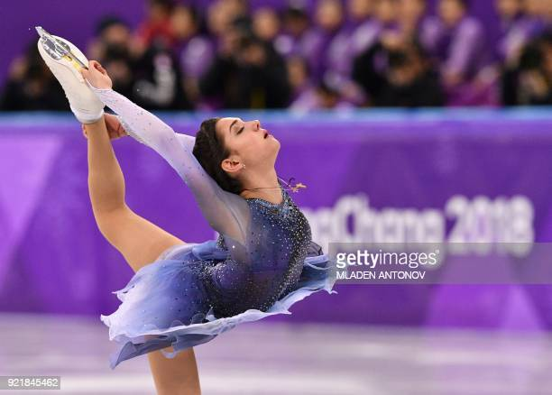 TOPSHOT Russia's Evgenia Medvedeva competes in the women's single skating short program of the figure skating event during the Pyeongchang 2018...