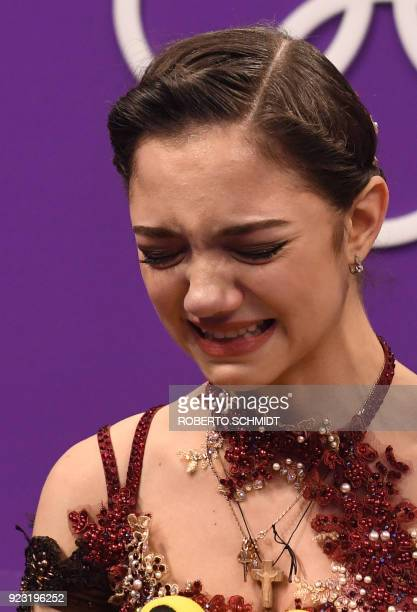 TOPSHOT Russia's Evgenia Medvedeva reacts after the women's single skating free skating of the figure skating event during the Pyeongchang 2018...