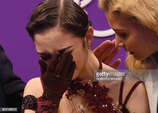 Russia's Evgenia Medvedeva reacts after the women's single skating free skating of the figure skating event during the Pyeongchang 2018 Winter...