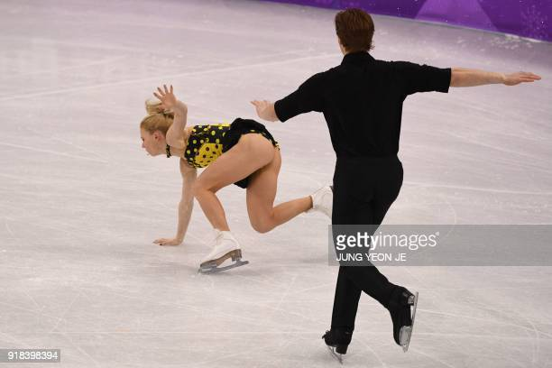 Russia's Evgenia Tarasova and Russia's Vladimir Morozov compete in the pair skating free skating of the figure skating event during the Pyeongchang...