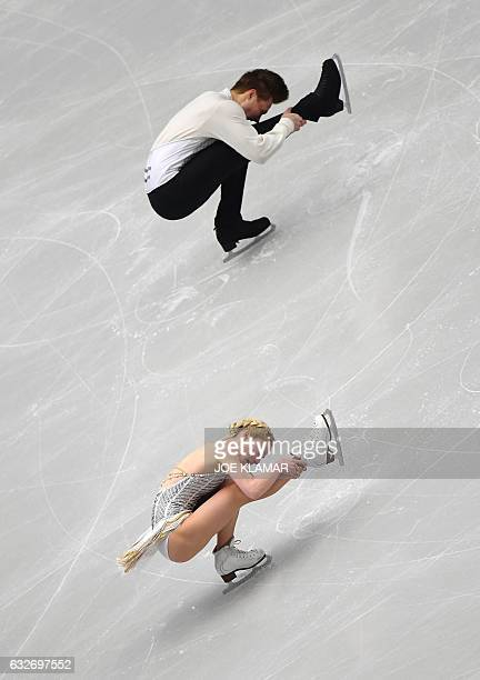Russia's Evgenia Tarasova and Vladimir Morozov compete during the pairs free short program of the European Figure Skating Championship in Ostrava on...