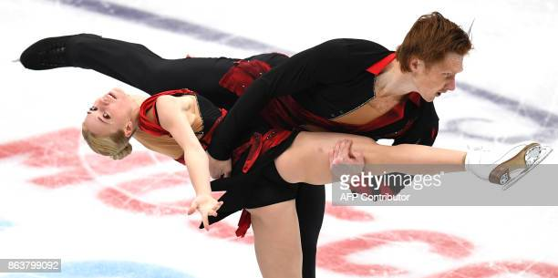 Russia's Evgenia Tarasova and Vladimir Morozov compete in the Pairs short program at the ISU Grand Prix Rostelecom Cup in Moscow on October 20 2017 /...