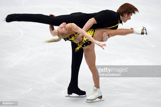 Russia's Evgenia Tarasova and Vladimir Morozov compete in the pairs' free skating at the ISU European Figure Skating Championships in Moscow on...