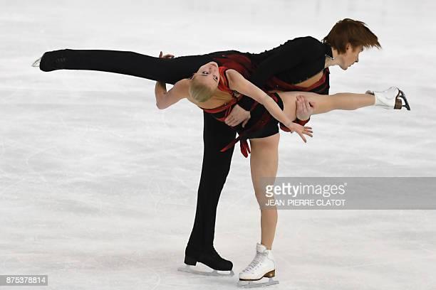 Russia's Evgenia Tarasova and Vladimir Morozov perform during the Ice Pairs short program event of the Internationaux de France ISU Grand Prix of...
