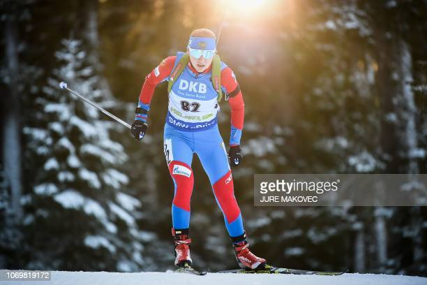 Russia's Evgeniya Pavlova competes during the IBU Biathlon World Cup Women's 75km Sprint competition in Pokljuka northwestern Slovenia on December 8...