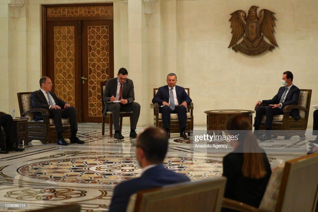 Russia's FM Sergei Lavrov meets Bashar al-Assad in Syria : News Photo