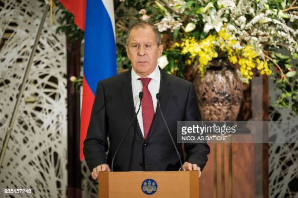Russia's Foreign Minister Sergei Lavrov attends a press conference after a meeting with his Japanese counterpart Taro Kono at the Iikura House in...