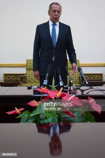 Russia's Foreign Minister Sergei Lavrov attends a press conference at the Mansudae Assembly Hall in Pyongyang on May 31 2018 Russian Foreign Minister...