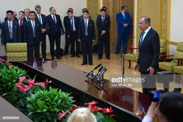 Russia's Foreign Minister Sergei Lavrov attends a press conference at the Mansudae Assembly Hall in Pyongyang on May 31, 2018. - Russian Foreign...