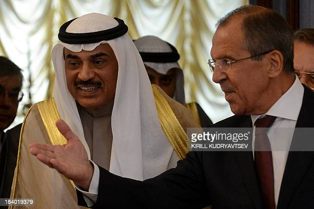 Russia's Foreign Minister Sergei Lavrov meets his visiting Kuwaiti counterpart Sheik Sabah Khalid alHamad alSabah in Moscow on October 11 2013 AFP...