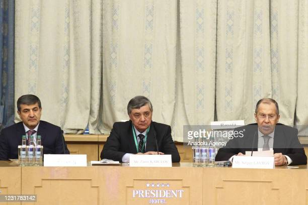 Russia's Foreign Minister Sergei Lavrov speaks during a meeting on Afghan peace with the participation of China, the US, Pakistan, Afghan parties,...