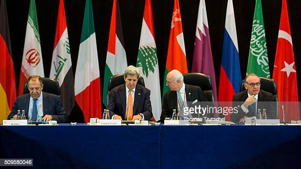 Russia's Foreign Minister Sergei Lavrov US Secretary of State John Kerry and United Nations special envoy to Syria Staffan de Mistura attends the...
