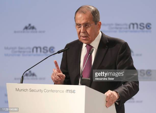 Russia's Foreign Minister Sergej Lavrov gives his speech during the 55th Munich Security Conference on February 16, 2019 in Munich, Germany. The...