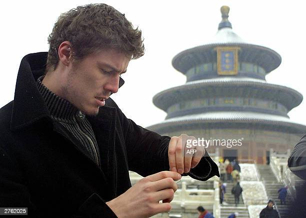 Russia's former world number one Marat Safin pays a visit to the Temple of Heaven in Beijing 26 November 2003 Both Safin and Thai tennis sensation...