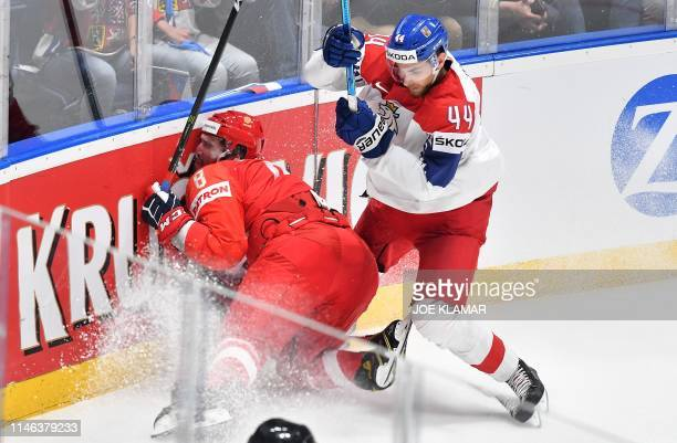 Russia's forward Alexander Ovechkin and Czech Republic's defender Jan Rutta vie during the IIHF Men's Ice Hockey World Championships bronze medal...
