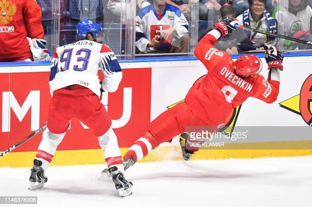 Russia's forward Alexander Ovechkin and Czech Republic's forward Jakub Voracek vie during the IIHF Men's Ice Hockey World Championships bronze medal...