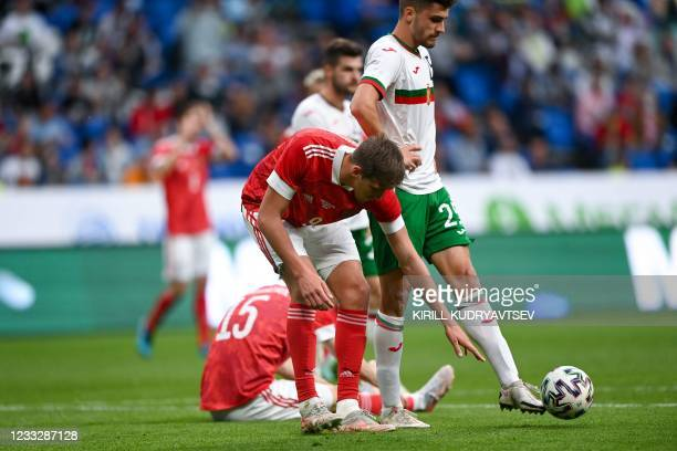 Russia's forward Alexander Sobolev prepares to shoot a penalty during the friendly football match Russia v Bulgaria in Moscow on June 5 in...