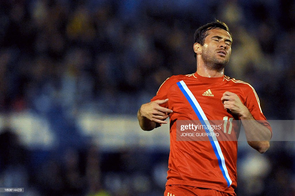 Russia's forward Alexandr Kerzhakov reacts during the international friendly football match Iceland vs Russia at the municipal stadium in Marbella on February 6, 2013.