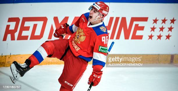 Russia's forward Andrei Kuzmenko celebrates a goal during the Channel One Cup of the Euro Hockey Tour ice hockey match between Russia and Sweden at...