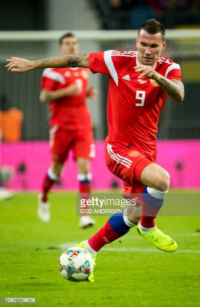 Russia's forward Anton Zabolotny runs with the ball during the international friendly football match Germany v Russia in Leipzig eastern Germany on...