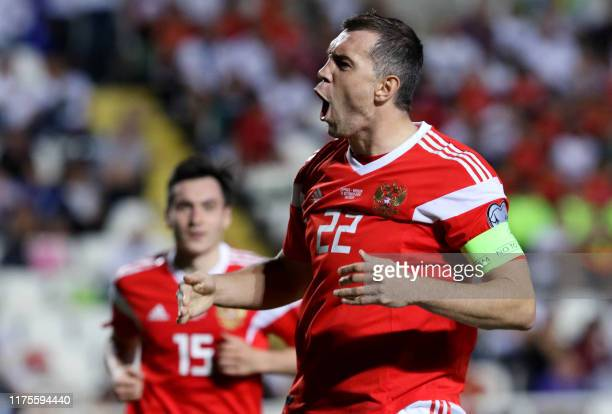 Russia's forward Artem Dzyuba celebrates his goal during the EURO 2020 group I qualifiers football match between Cyprus and Russia at the GSP stadium...
