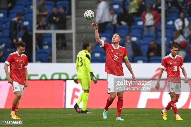 Russia's forward Artem Dzyuba during the friendly football match Russia v Bulgaria in Moscow on June 5 in preparation for the UEFA European...