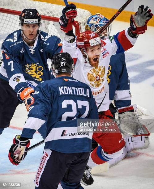 Russia's forward Mikhail Grigorenko celebrates a goal during the Channel One Cup of the Euro Hockey Tour ice hockey match between Russia and Finland...