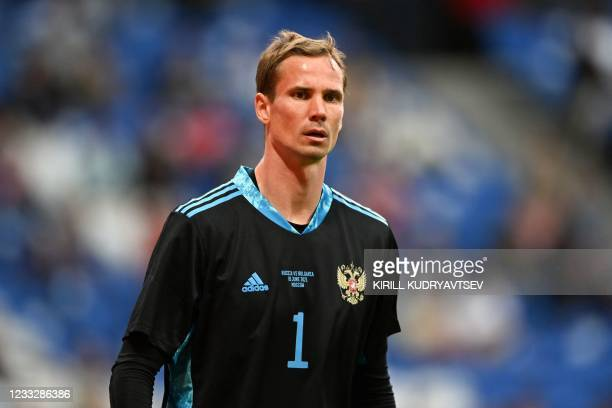 Russia's goalkeeper Anton Shunin during the friendly football match Russia v Bulgaria in Moscow on June 5 in preparation for the UEFA European...