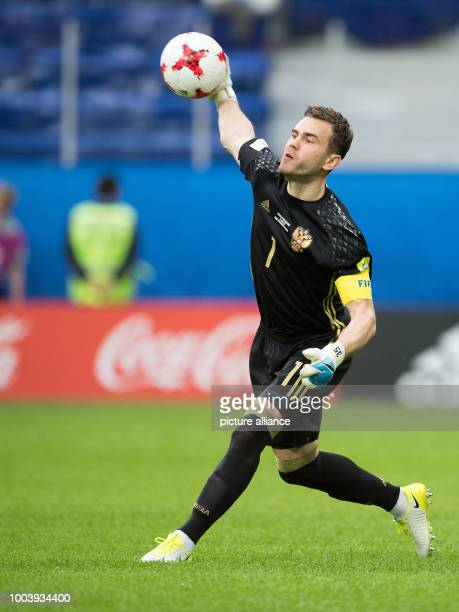 Russia's goalkeeper Igor Akinfeev in action during the Confederations Cup group A match between Russia and New Zealand at the Stadium in St...