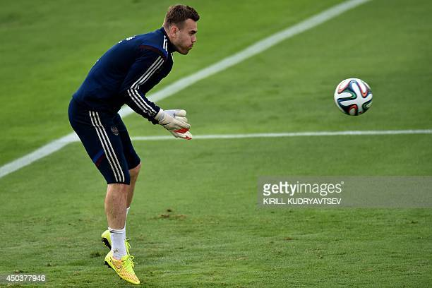 Russia's goalkeeper Igor Akinfeev takes part in a training session at Estadio Novelli Jr in Itu close to Sao Paulo on June 10 ahead of the 2014 FIFA...