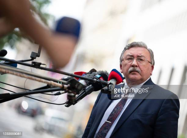 Russia's Governor to the International Atomic Energy Agency , Mikhail Ulyanov speaks to journalists outside the 'Grand Hotel Wien' after the...