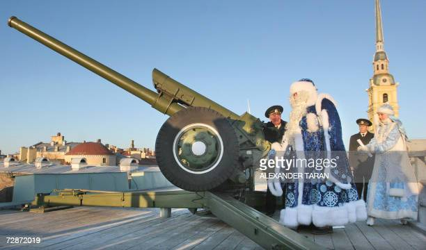 Russia's Grandfather Frost fires a cannon from the Petropavlovskaya fortress in St Petersburg 23 December 2006 Grandfather Frost arrived in St...