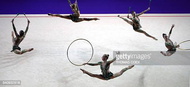 Russia's gymnasts perform in the Group All - Around Final during the 32nd European Championships of Rhythmic Gymnastics 2016 at the Holon Toto Hall...