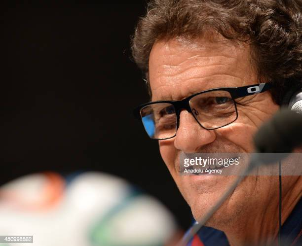 Russia's head coach Fabio Capello attends a press conference at the Maracana Stadium in Rio de Janeiro Brazil on June 21 2014 Russia will play...