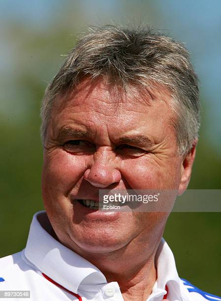Russia's head coach Guus Hiddink looks on during a training session, ahead of their international friendly match against Argentina, at the Eduard...