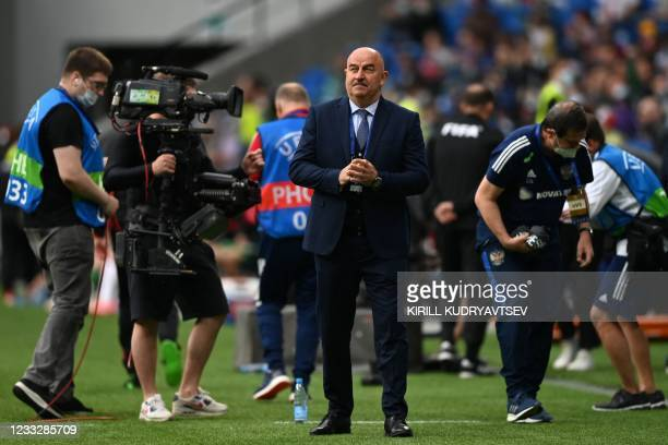 Russia's head coach Stanislav Cherchesov before the friendly football match Russia v Bulgaria in Moscow on June 5 in preparation for the UEFA...