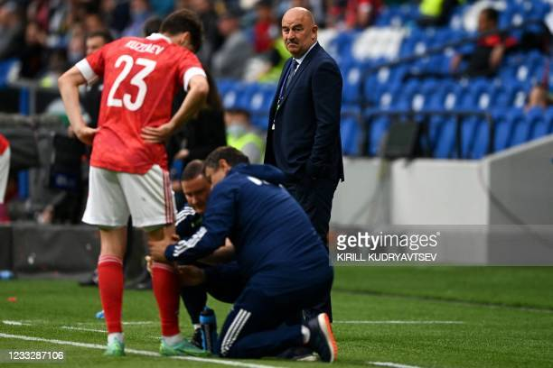 Russia's head coach Stanislav Cherchesov during the friendly football match Russia v Bulgaria in Moscow on June 5 in preparation for the UEFA...