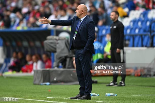Russia's head coach Stanislav Cherchesov gestures from the sideline during the friendly football match Russia v Bulgaria in Moscow on June 5 in...