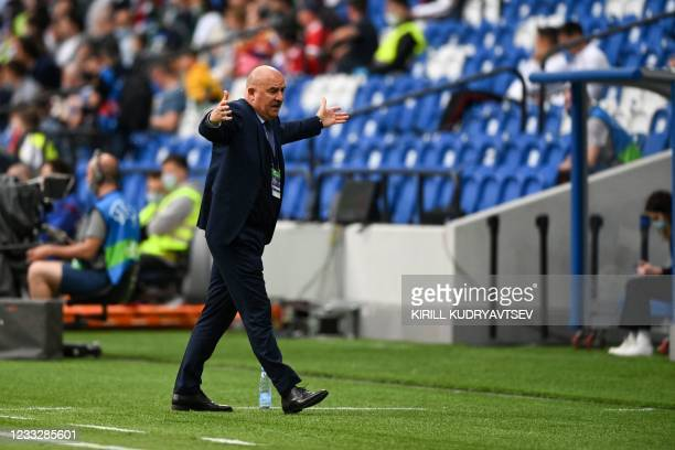 Russia's head coach Stanislav Cherchesov reacts during the friendly football match Russia v Bulgaria in Moscow on June 5 in preparation for the UEFA...