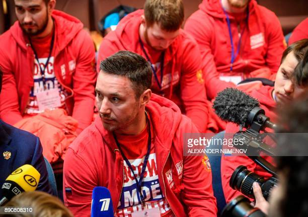 Russia's hockey forward Ilya Kovalchuk addressess the media within a meeting of the Russian Olympic Committee in Moscow on December 12 on deciding...