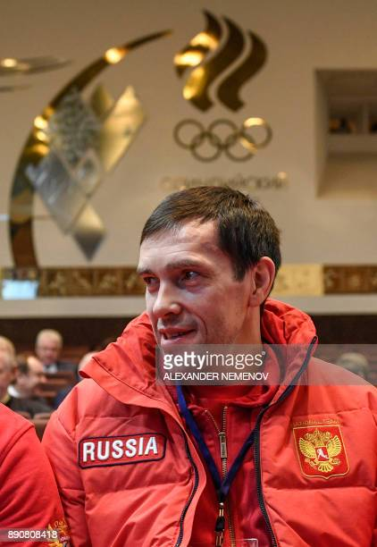 Russia's hockey forward Pavel Datsyuk is pictured within a meeting of the Russian Olympic Committee in Moscow on December 12 on deciding how to...