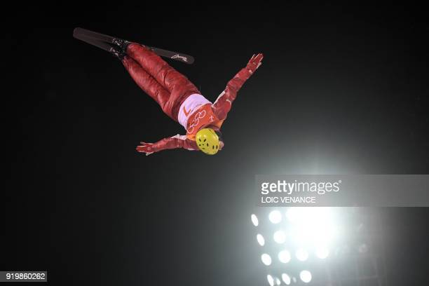 TOPSHOT Russia's Ilia Burov competes during the men's aerials final during the Pyeongchang 2018 Winter Olympic Games at the Phoenix Park in...