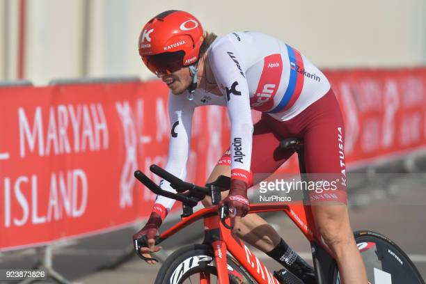 Russia's Ilnur Zakarin from Team Katusha Alpecin in action during the fourth stage 126km individual time trial Al Maryah Island Stage of the 2018 Abu...