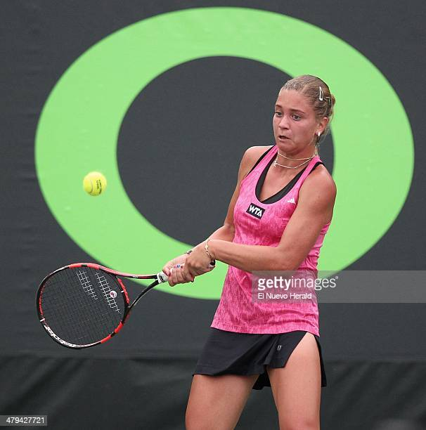 Russia's Irina Khromacheva returns the ball during practice for the Sony Open tennis tournament in Key Biscayne Fla on Tuesday March 18 2014