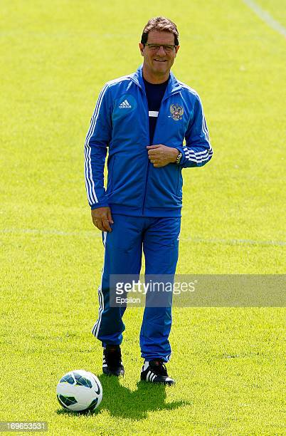 Russia's Italian manager Fabio Capello oversees an open training session of the national team at the EA Streltsov Stadium on May 30 2013 in Moscow...